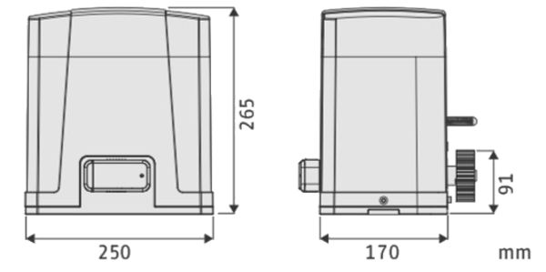 Dimensions motorisation portail PL800 POWERTECH