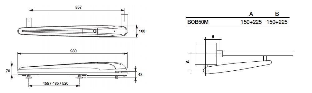 Dimensions motorisation BENINCA BOB5024E